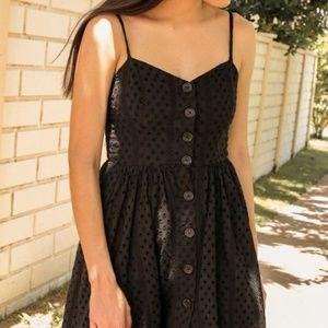 UO Abbie Eyelet Button-Down Dress